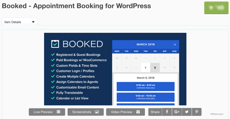 Booked Appointment Booking for WordPress Codecanyon