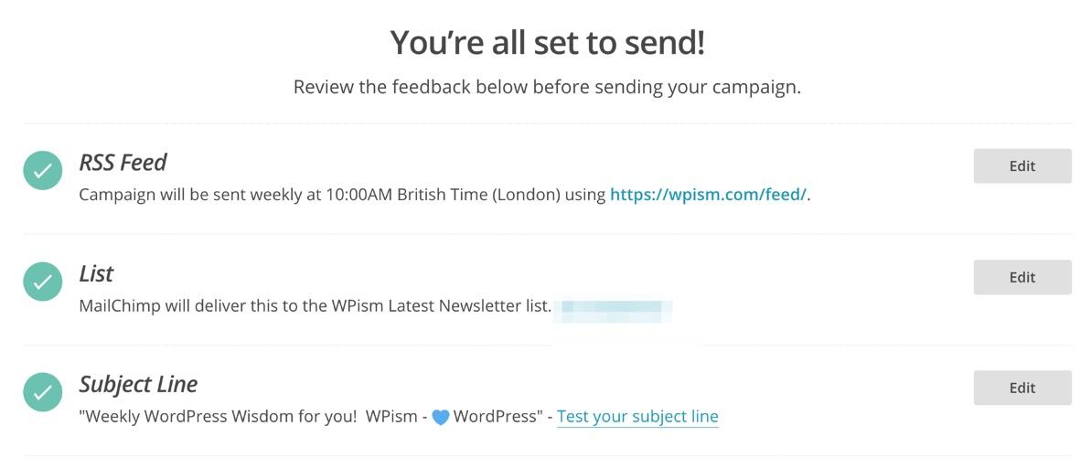 Campaign Final Process MailChimp RSS
