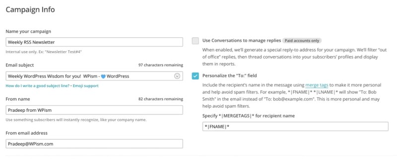 Campaign Inormation MailChimp RSS
