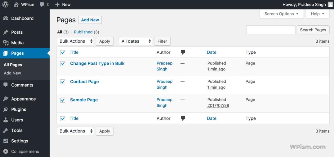 Change Post Types in Bulk Publish Edit Section
