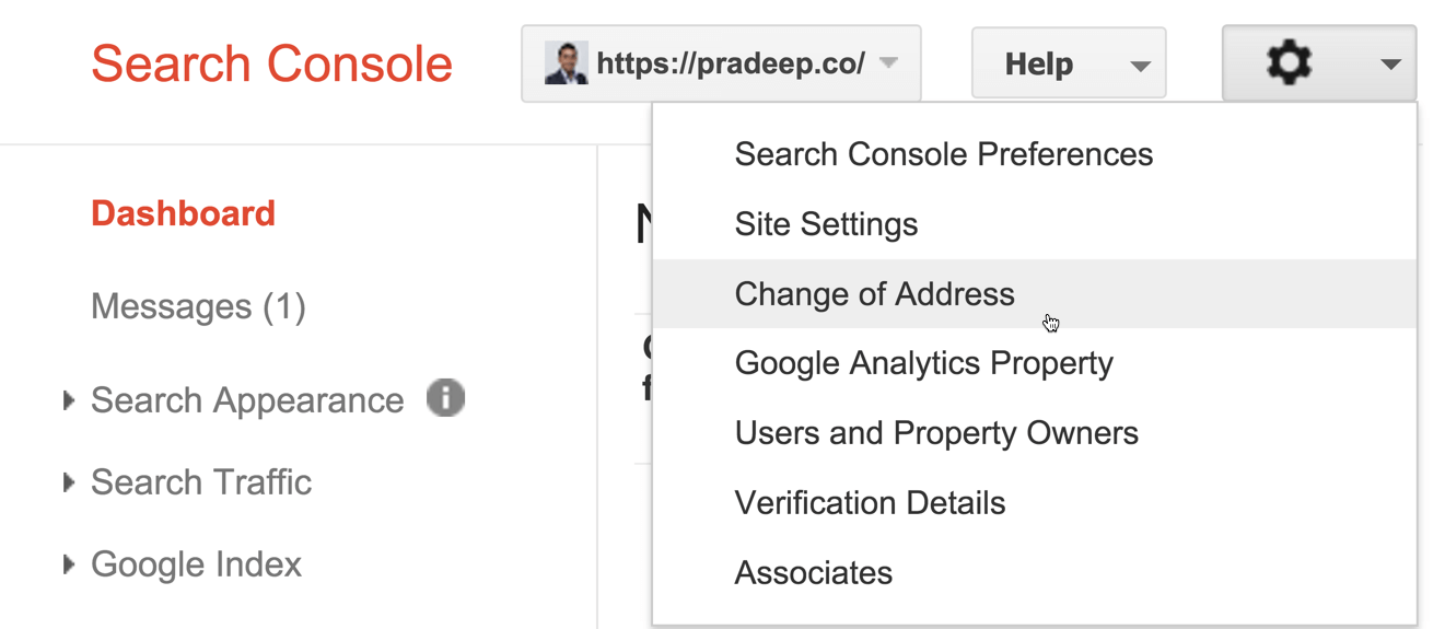 Change of Address Google Webmasters Tool
