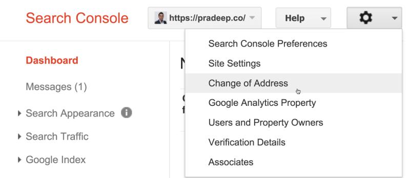 Change of Address Google Webmasters Tool