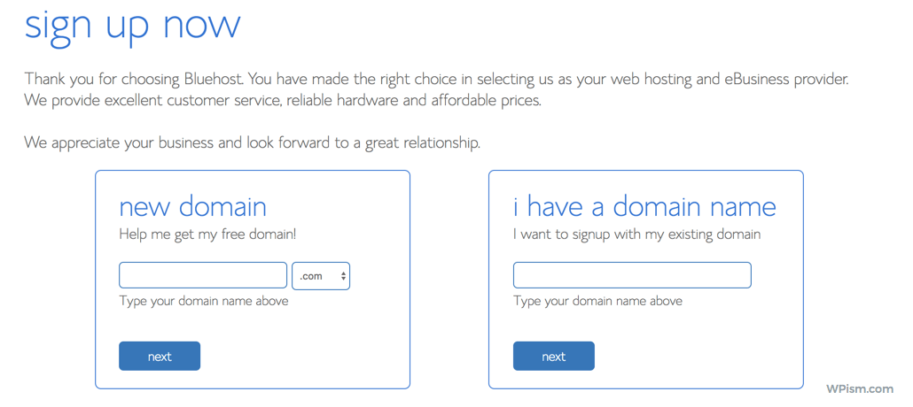 Choose Free Domain Bluehost discount coupon code