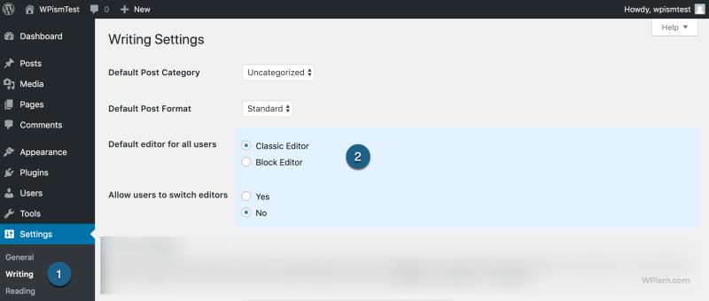 Classic Editor as Default Editor in Writing Settings WordPress