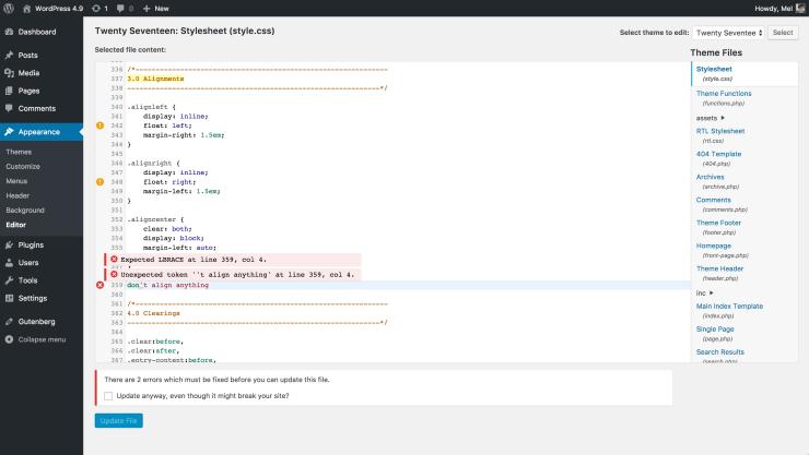 Code editor css error WordPress
