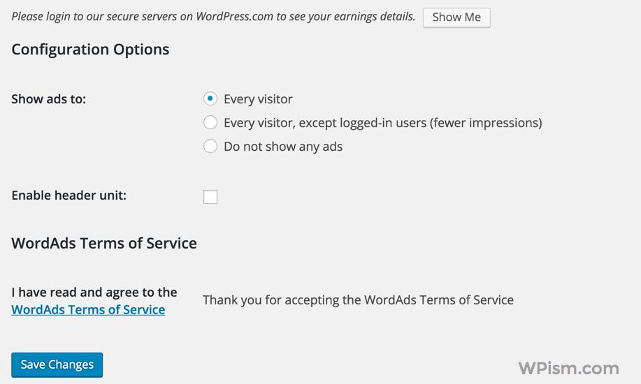 Configuration option WordAds WordPress