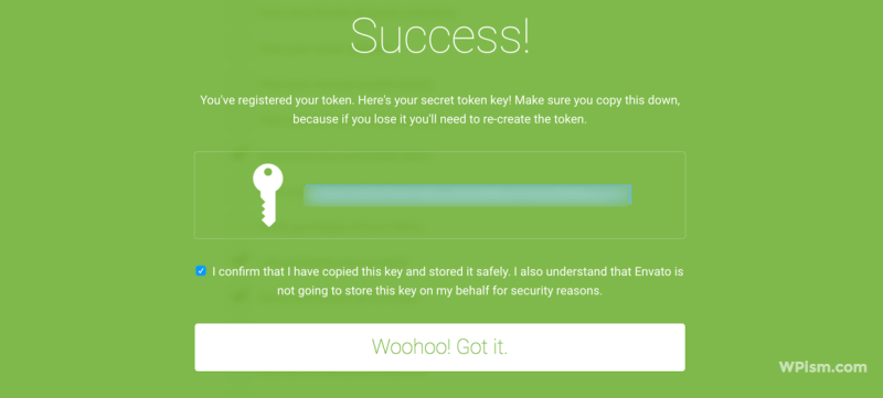 Copy your secret Envato token key
