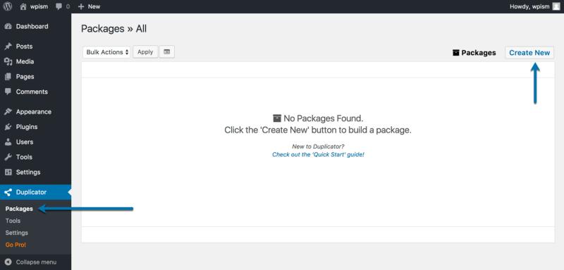 Creating Package Duplicator New