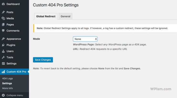 Custom WordPress 404 Page Plugin Settings