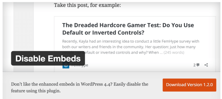 Disable WordPress Embeds plugin