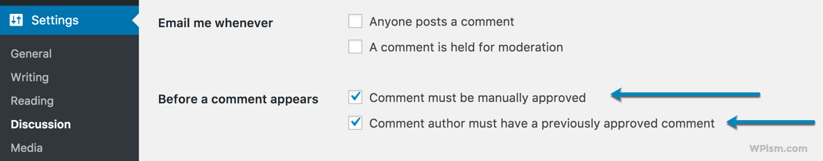Discussion settings for blog comments