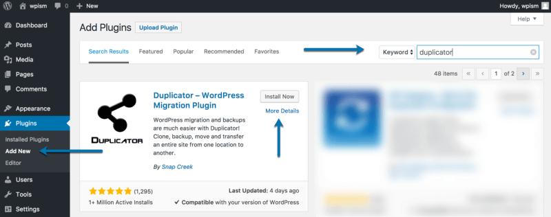 Download and Install Duplicator Plugin
