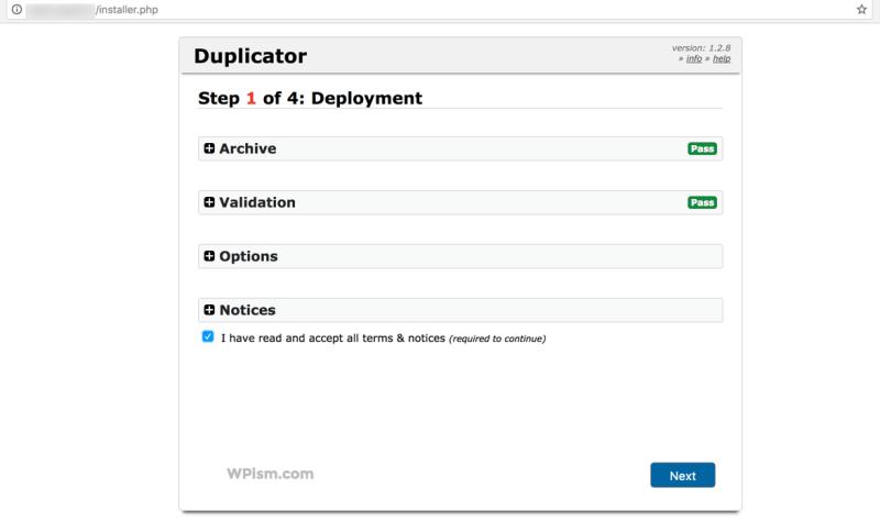 Duplicator Installer Migration WordPress