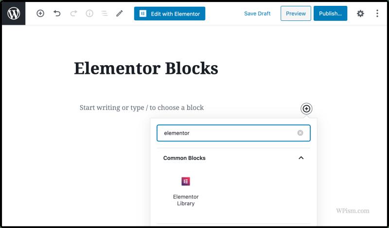 Elementor Blocks Insert Gutenberg Editor WordPress