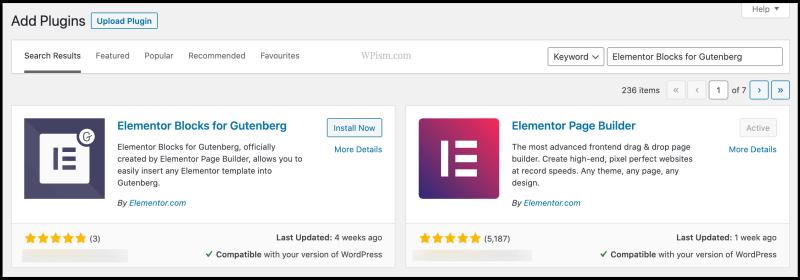 Elementor Blocks for Gutenberg Plugin Download WordPress Dashboard