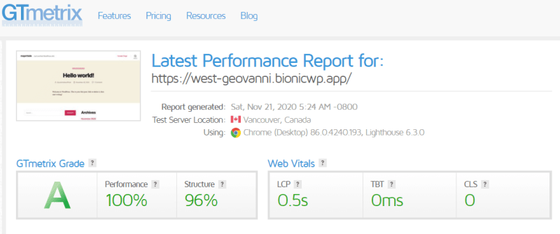 Fast BionicWP WordPress Hosting pingdom gtmetrix nitropack review