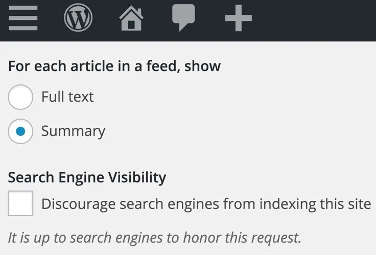 Feed Settings Summary WordPress