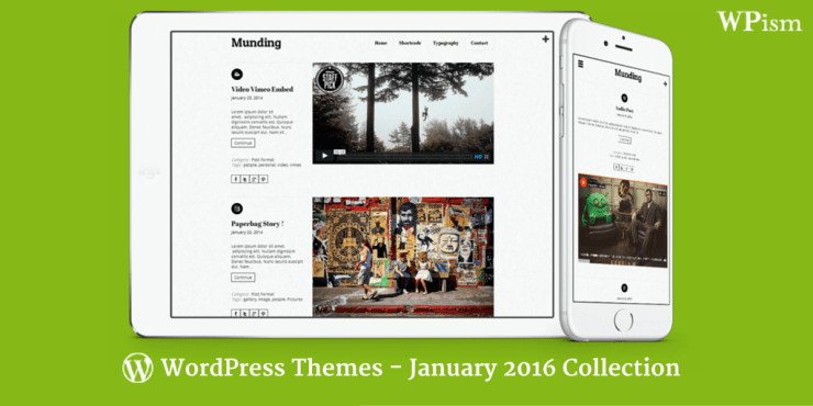 Free WordPress Themes – January 2016 Collection