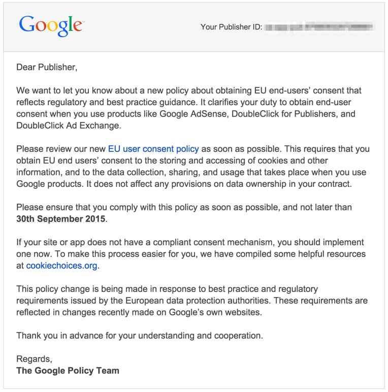 Google Adsense user consent policy Email