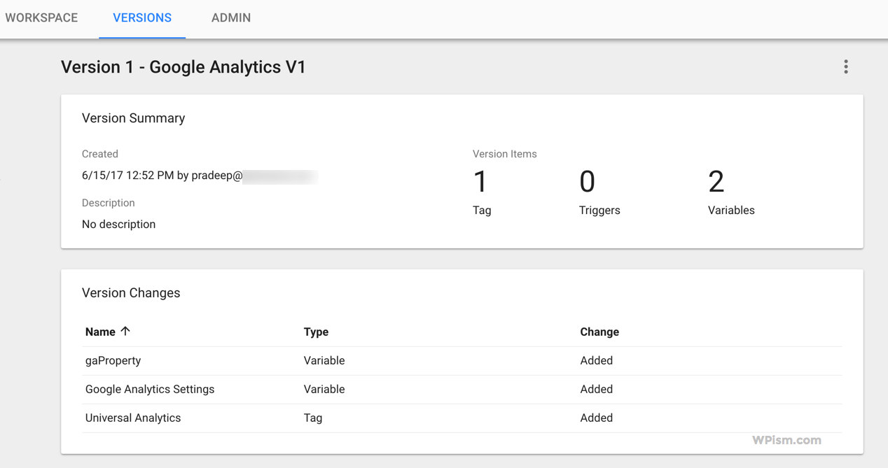 Google Analytics Settings Version Published
