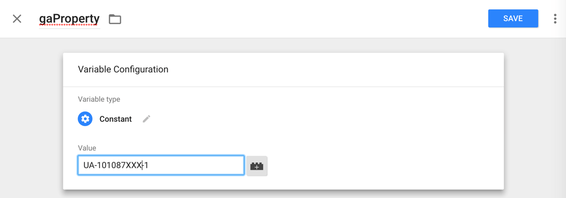 Google Analytics Tracking ID As Value for the Constant