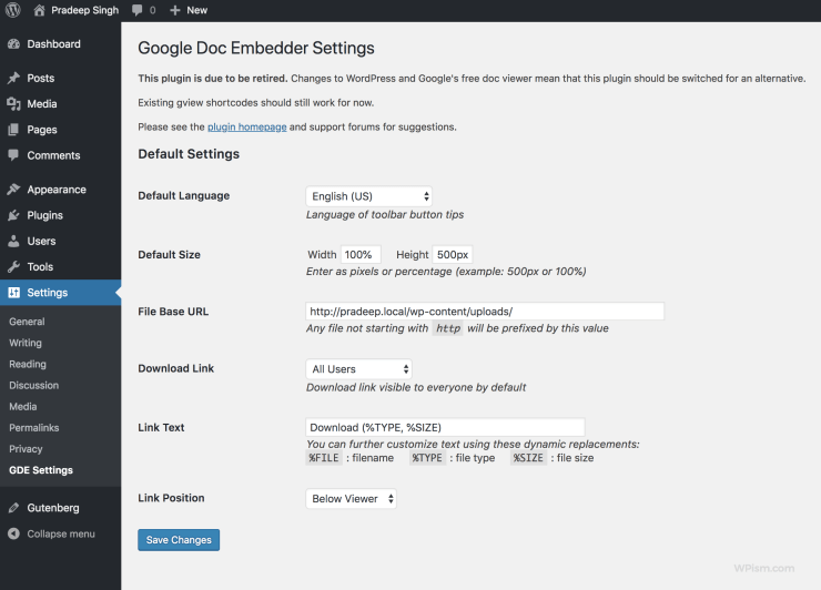 Google Doc Embedder plugin Settings page