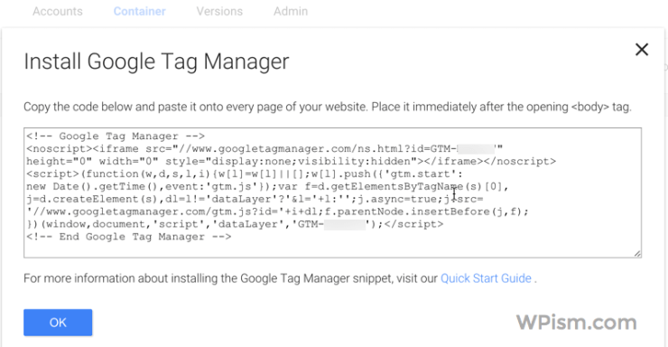 Google Tag Manager Code for Website