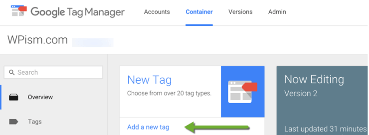 Google Tags Manager container dashboard