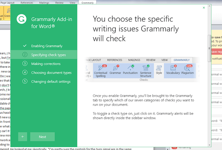 Grammarly Add on For Mac Corrections
