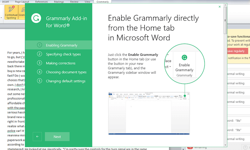 Grammarly in Microsoft Word Mac