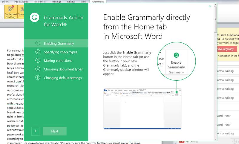 Grammarly in Microsoft Word Mac