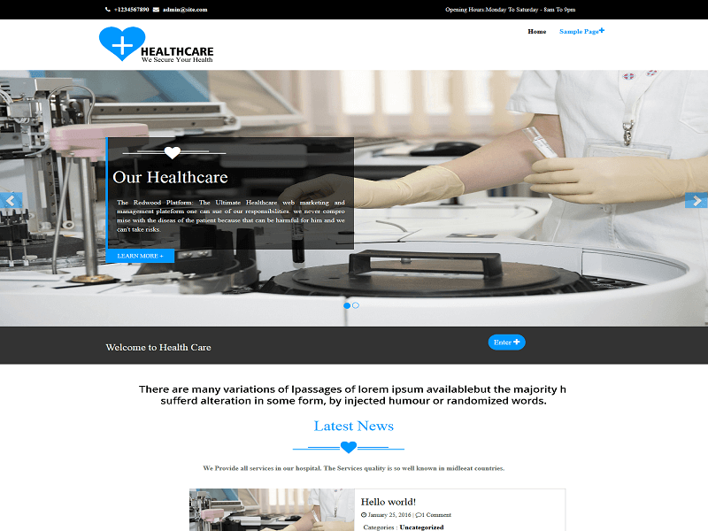 Healthcare By weblizar WordPress Theme