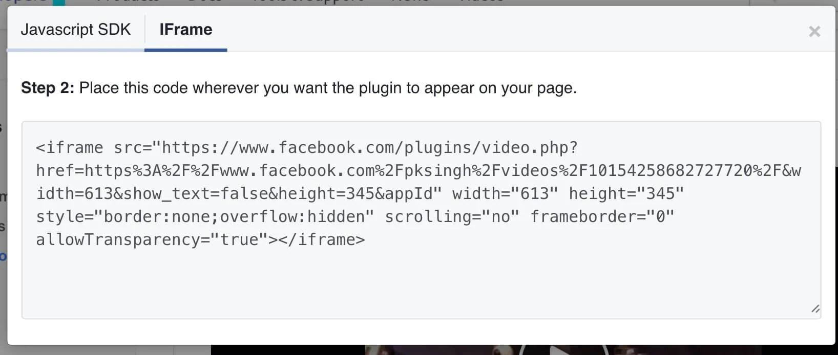 IFrame Code for Facebook Live Videos Embed
