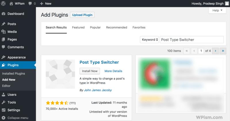 Install Change WordPress Post Type Plugin