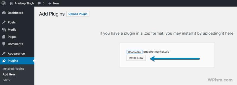 Install Plugin Envato Market WordPress