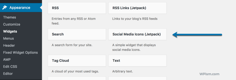 Jetpack Social Media Icons Widget feature