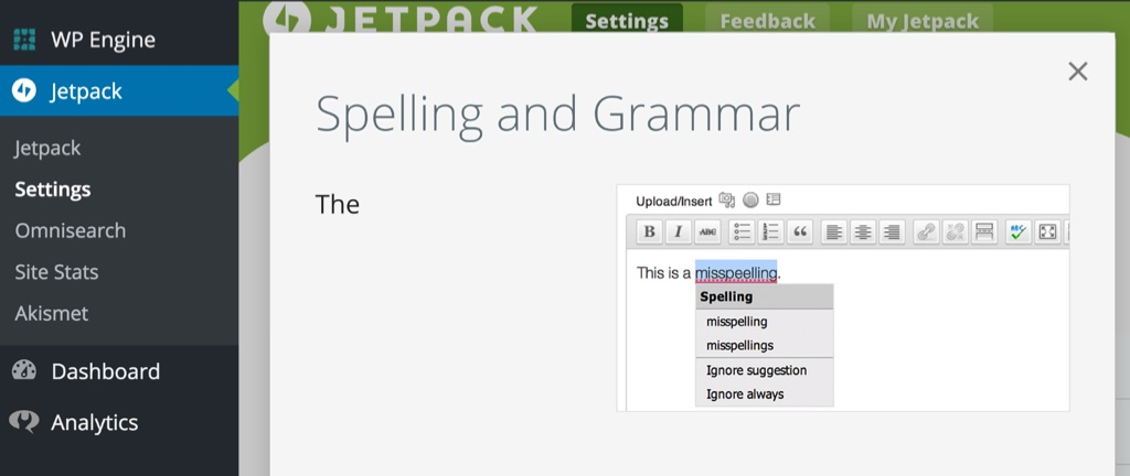 Jetpack Spelling and Gramar Settings