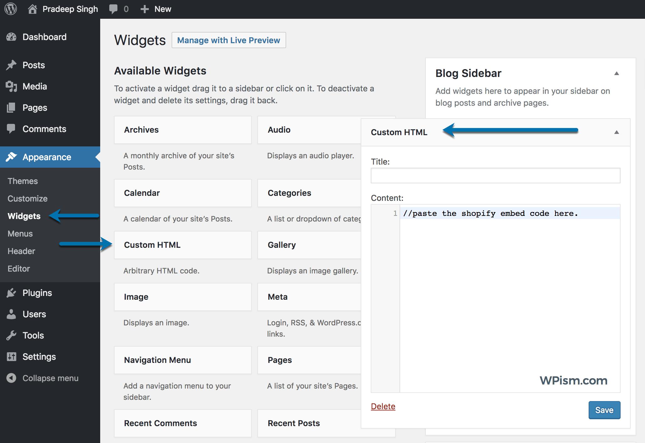 Listing Shopify Product WordPress Sidebar
