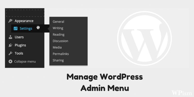 Manage Admin Menu Plugin WordPress