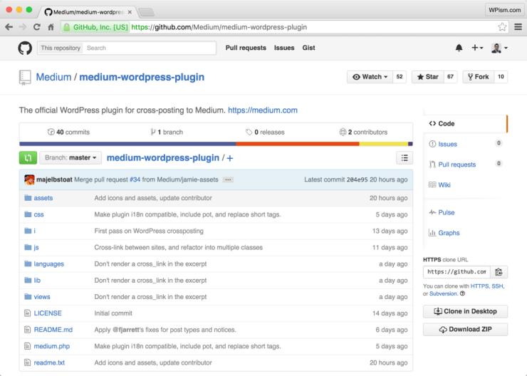 Medium WordPress Plugin GitHub