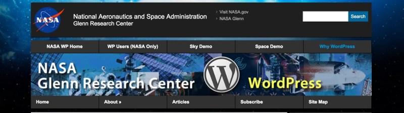 NASA Research Center Website on WordPress