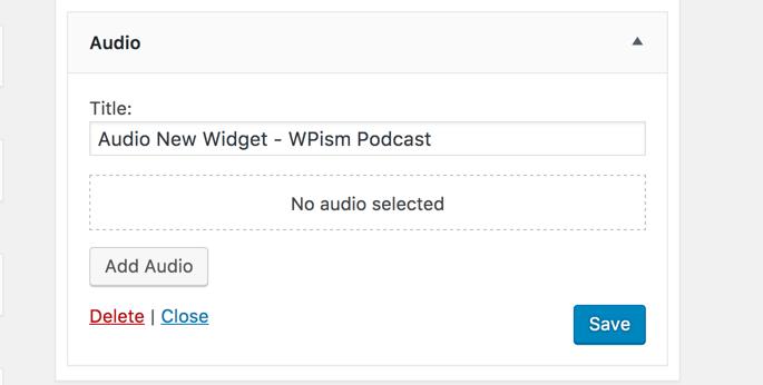 New Audio Widget WordPress 4.8