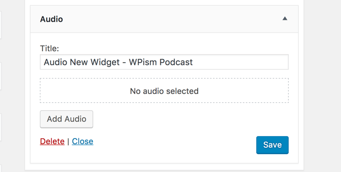 New Audio Widget WordPress 4.8