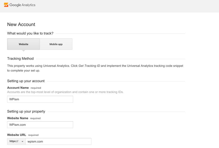 New Google Analytics Account