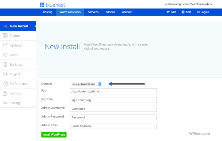 New Install WordPress BlueHost tools