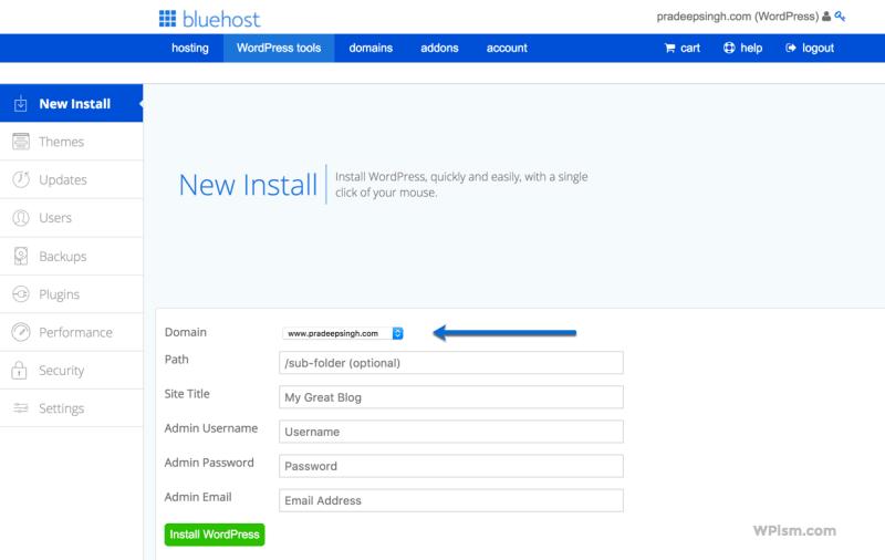 New Install WordPress BlueHost tools