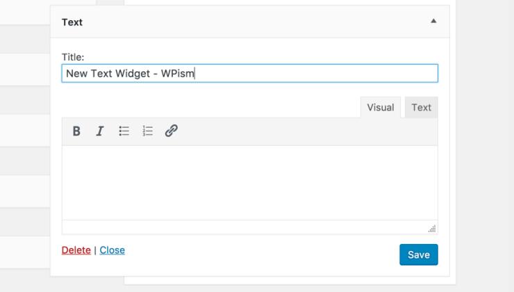 New Rich Text Widget WordPress 4.8