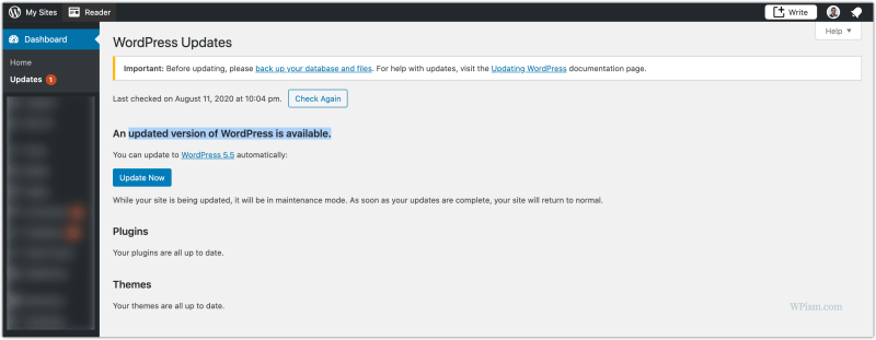 New WordPress 5.5 Version Update available