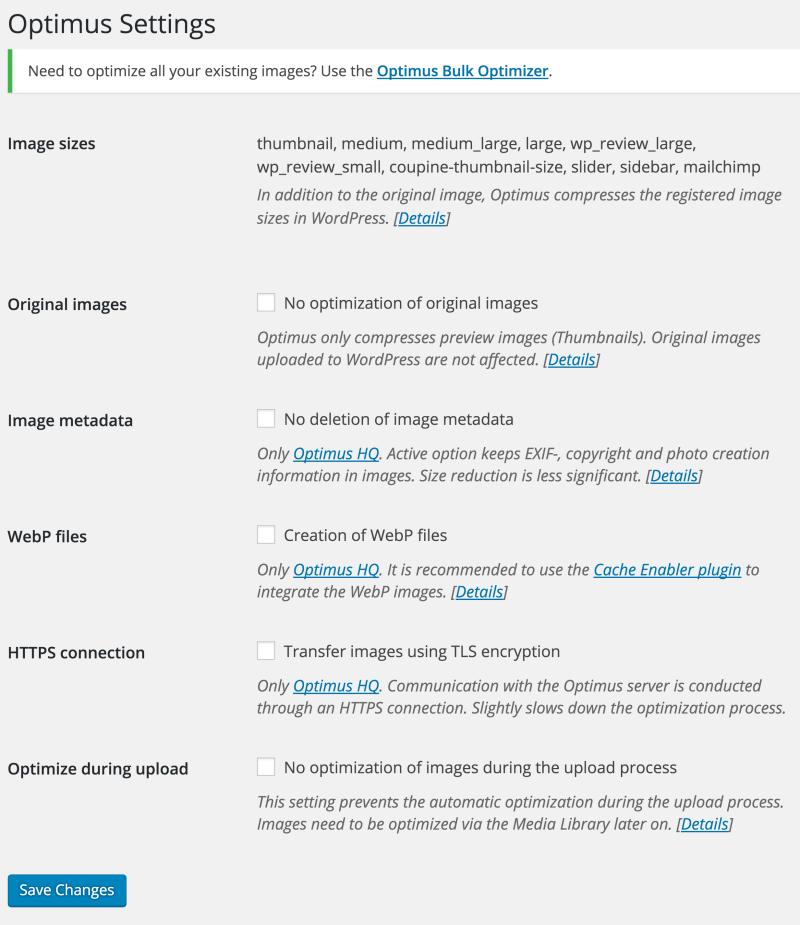 Optimus Advanced Settings Page