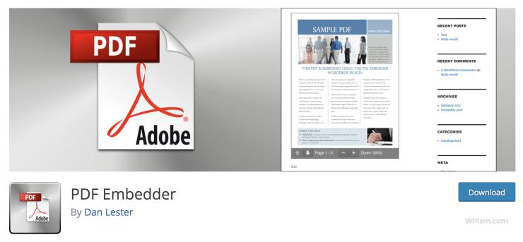 PDF Embedder plugin WordPress repository